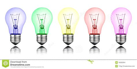 light content different ideas row of colored lightbulbs stock