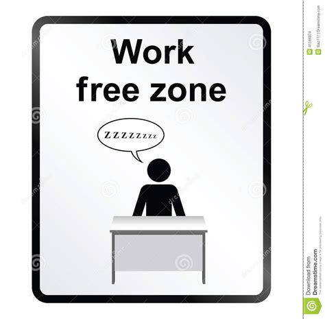 free work work free zone information sign stock vector image 41166974