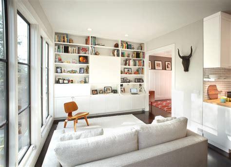 Hanging Home Decor Modern Family Room With Hidden Tv Amp Secretary Desk