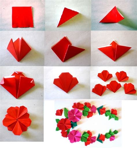 Steps To Make A Flower With Paper - really sweet flat origami flower pinteres