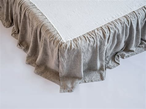 linen sheets set 4pc stone washed super soft luxury seamless linen ruffled dust bed skirt stone washed super soft twin full
