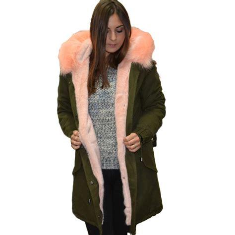 parka con pelliccia interna new parka con pelliccia colorata voluminosa cipria