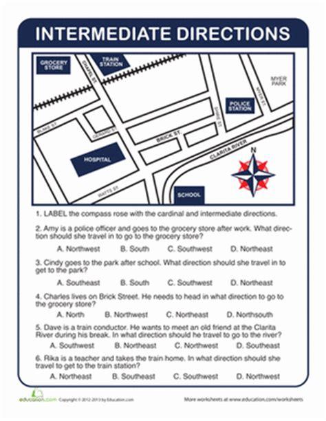 get printable directions practice intermediate directions worksheet education com