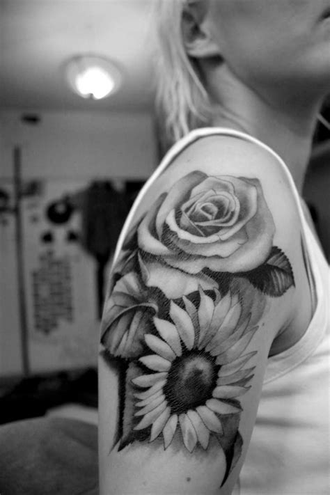 sunflower sleeve tattoo black and grey sunflower with on half sleeve