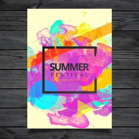 watercolor summer festival poster template vector free
