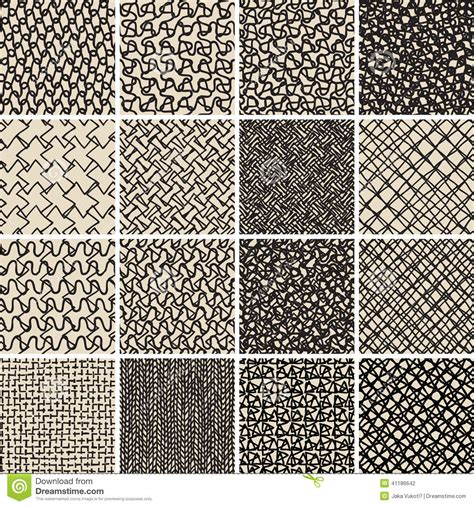 art pattern repetitive basic doodle seamless pattern set no 8 in black and white