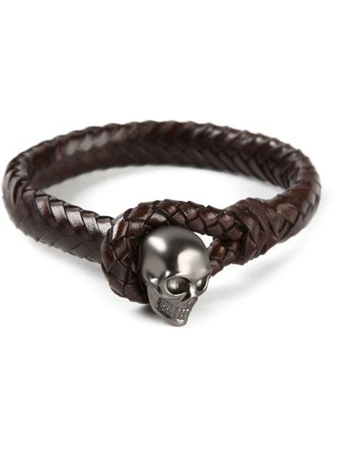 Skull Woven Bracelet lyst mcqueen woven skull bracelet in brown for