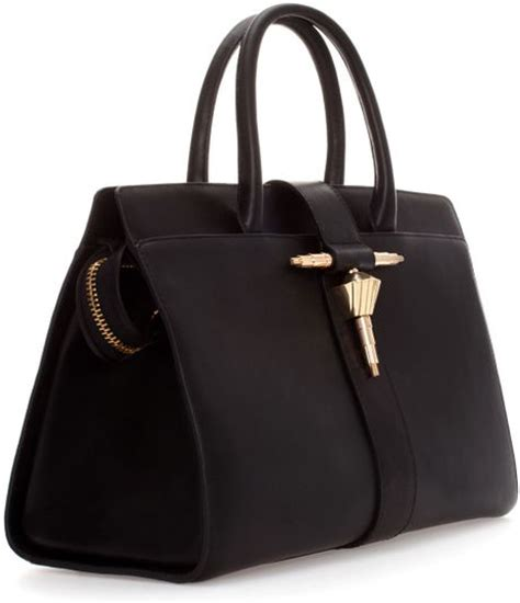 Zara Leather Bag zara leather bag with metal tab in black lyst