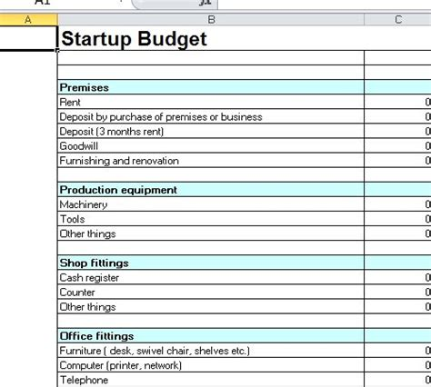 Startup Budget Template Excel Start Up Business Template