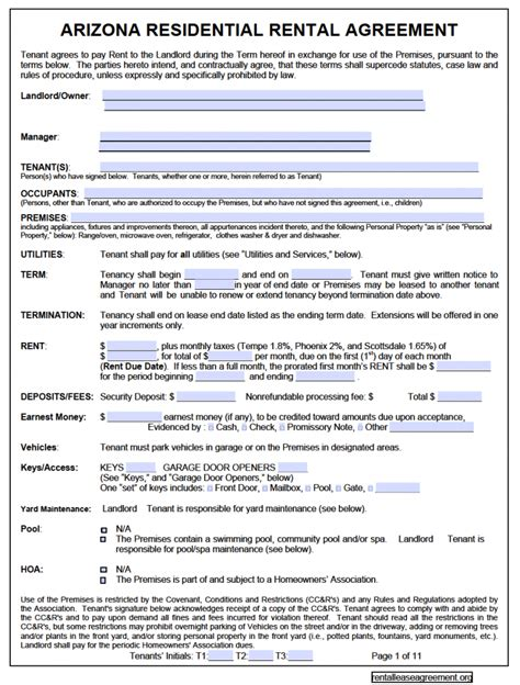 lease agreement contract template free arizona residential lease agreement pdf template