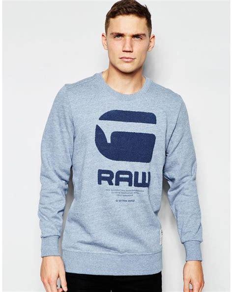 g crew sweatshirt resap g logo in light blue in blue for seahtr