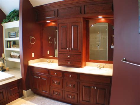 cherry bathroom cabinets custom cherry bathroom with paneled soffit traditional