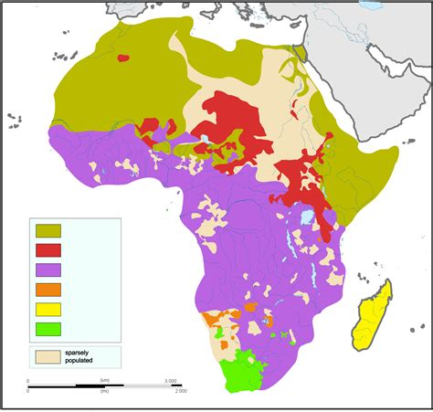 africa map of languages languages of africa