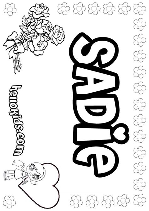 coloring page with name sadie coloring pages hellokids com