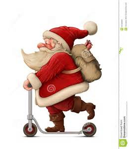 santa claus and the push scooter stock illustration