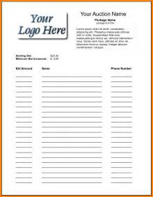Silent Auction Template by Search Results For Silent Auction Bid Sheet Pdf