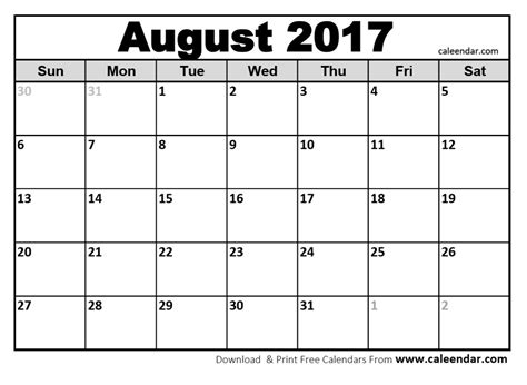 Kalender 2017 August August 2017 Calendar Printable Template With Holidays Pdf