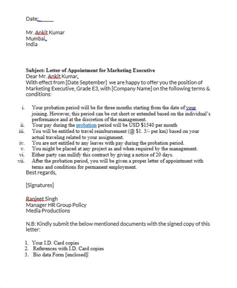 appointment letter format for gm marketing 8 appointment letter templates free sles