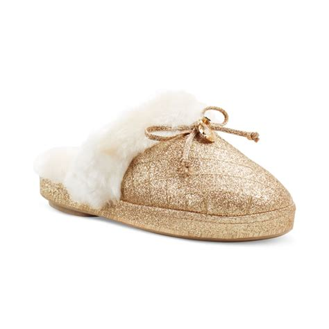 michael kors slippers michael kors faux fur slippers in gold lyst