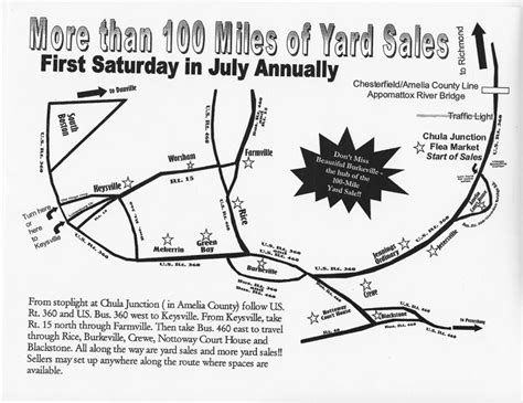 100 Mile Garage Sale Map by Southside Virginia S 100 Of Yard Sales