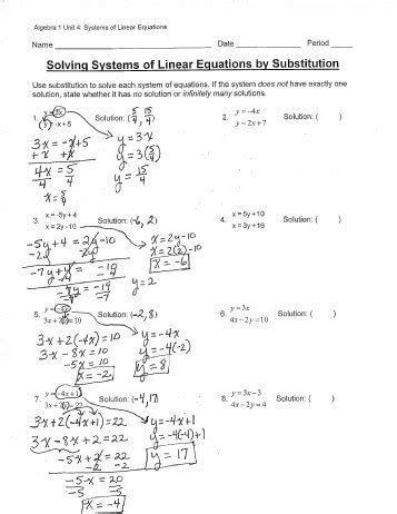 Systems Of Linear Equations Worksheets by Solving Systems By Substitution Worksheet Lesupercoin