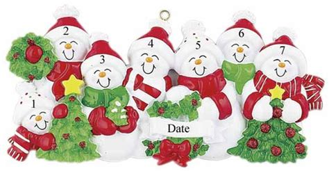 buy snowman family of 7 with red and green scarves