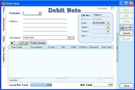Debit Credit Format Excel Debit Note Format Images