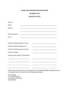 family reunion registration form template free