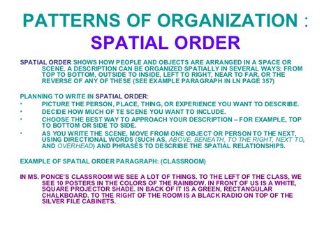 what pattern of organization does the speaker use image gallery spatial order