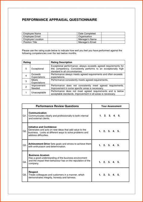 appraisal forms template free agenda templates word an executive