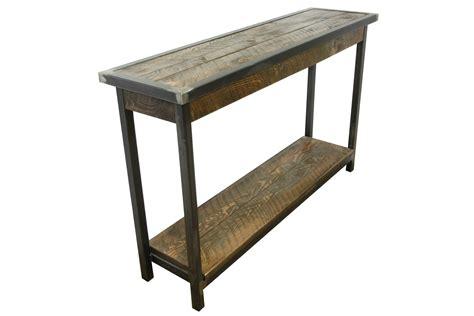 industrial metal  wood entry table  corner