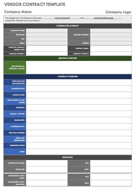 Vendor Management Excel Template by 13 Free Vendor Templates Smartsheet