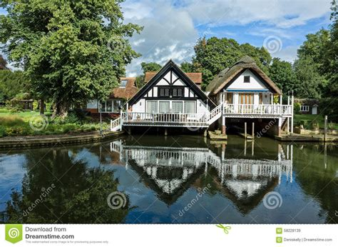 luxury riverside houses in stock image image