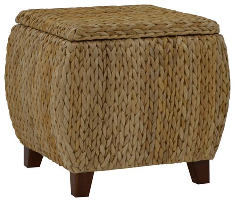 Tropical Ottoman Bali Storage Ottoman Tropical Footstools And Ottomans By Gallerie Decor