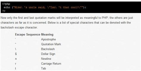 escaping characters  variable expansion php tutorials