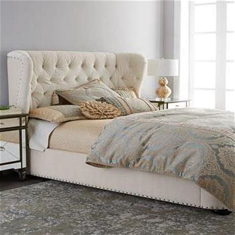 cream tufted bed leather tufted wingback bed