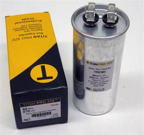 motor run capacitor furnace titanpro trc60 hvac motor run capacitor 60 mfd uf 370 volts ebay