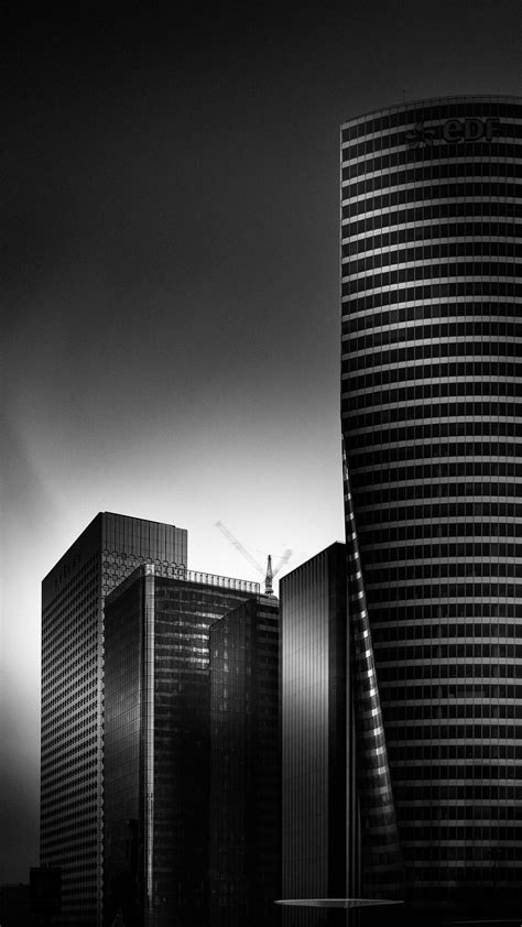 black  white city office buildings iphone   hd