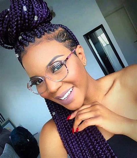 blue black box braids half shaven head 51 hot poetic justice braids styles purple box braids