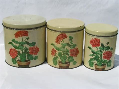 pink kitchen canister set 50s vintage metal kitchen canisters pink geraniums