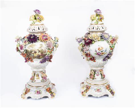 Dresden Vase by Beatiful Pair Dresden Painted Porcelain Vases