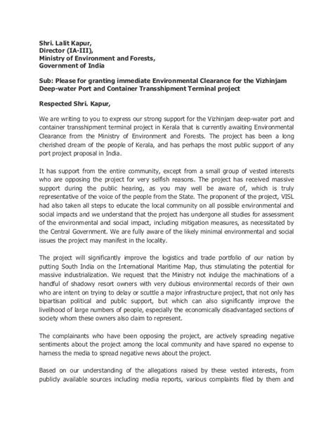 Explanation Letter For Project Delay Letter To Moef For Environmental Clearance Of The Vizhinjam Project