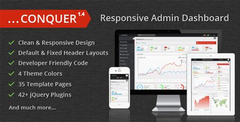 Conquer Responsive Admin Dashboard Template 50 premium admin templates that you may fall in with it web3canvas