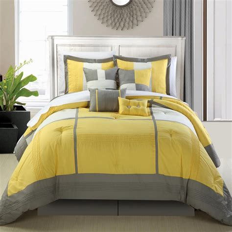yellow bed comforter yellow and grey bedding fel7 com