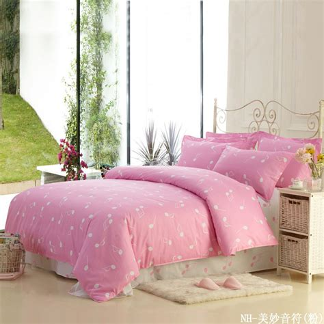 pink queen comforter set music note duvet cover set home textile bedding cotton bed