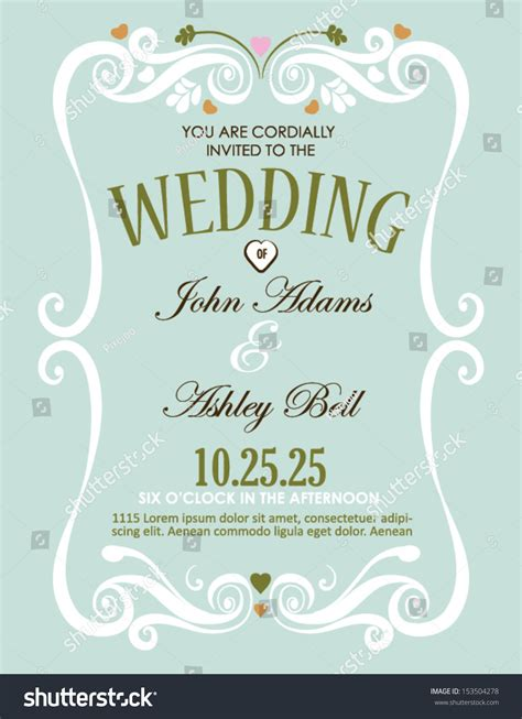 Wedding Invitation Letter Vector Wedding Invitation Card Design Vector Border Stock Vector 153504278