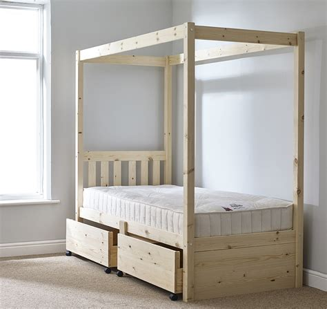 Four Poster Single Bed Frame Quattro 3ft Single Storage Four Poster Solid Pine Bed Frame