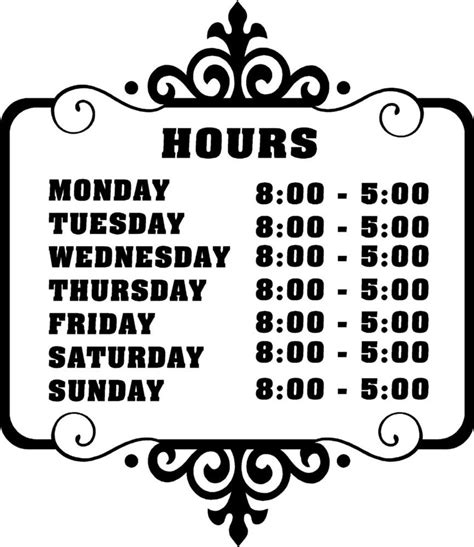 Custom Store Business Hours Sticker Vinyl Decal Sign Ebay Opening Hours Sign Template