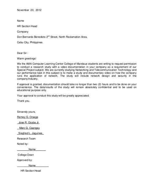 Letter Of Permission To Use Research Instrument Authorization Letter