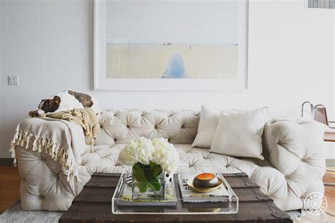 soho tufted upholstered sofa transitional living room